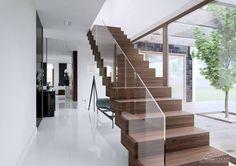 Pasillos, hall y escaleras de estilo translation missing: cl.style.pasillos-hall-y-escaleras.moderno por HomeKONCEPT | Projekty Domów Nowoczesnych