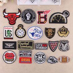 Envío gratis 20 unids moda hierro en remiendo logotipo de la marca parche bordado Appliques accesorios de tela