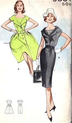 1960s Misses Dress With 2 Skirts Vintage Sewing by MissBettysAttic, $10.00