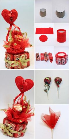 valentines day gift  idea chocolates organza toothpicks toilet paper rolls