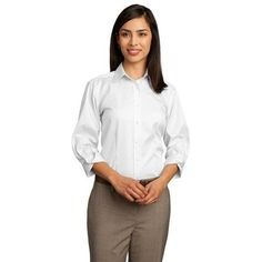 Red House Ladies 3/4-sleeve Dobby Non-iron Button-down Woven Shirt Medium - White Red House. $50.40