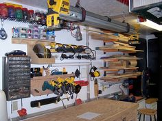 cool power tool storage- there are LOTS of ideas here for setting up shop