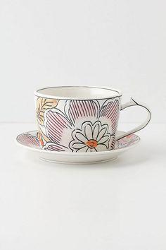 Illustrated Sakura Cup & Saucer #anthropologie