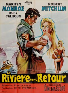 Marilyn Monroe movie poster for the film River of No Return, starring Robert Mitchum, Tommy Rettig & Rory Calhoun . Ralph Mcquarrie, Saint Yves, Sleepy Hollow, Yoda Movie, Star Wars Episode 2, Episode Vii, Marilyn Monroe Movies, Westerns, Millenium
