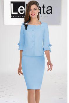 Костюм Lenata 21757 голубой Suit Fashion, Fashion Dresses, Fashion Looks, Mature Women Fashion, Womens Fashion, Suits For Women, Clothes For Women, Corporate Outfits, Office Outfits