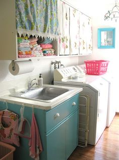 laundry room - Cute! I was thinking about ripping down the ugly cabinets but maybe taking off the front is the answer...