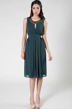 Silky Glitter Dress - Sea Green | Tailor and Stylist