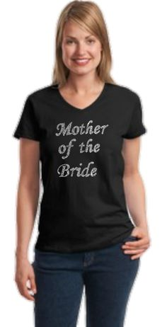Mother of the Bride V Neck rhinestone tee   A Flying Girl, Off Road, Summer Beach & River, Sports Apparel