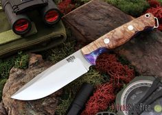Bark River Knives: Bravo Squad Leader - Natural Maple Burl - Purple & Blue Acrylic Hybrid