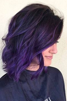 38 Shades of Purple Hair Color Ideas You Will Love – Hair Colour Style – Balayage Haare Deep Purple Hair, Bright Purple Hair, Dyed Hair Purple, Hair Color Purple, Hair Dye Colors, Cool Hair Color, Purple Ombre Hair Short, Purple Tips, Brown To Purple Ombre