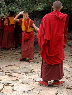 Debate Among Monks--Tashilungpo monastery, Shigatse, Tibet Buddhist Prayer, Buddhist Monk, Tibetan Buddhism, Nepal, Love People, Beautiful People, Le Tibet, Tianjin, Tibet