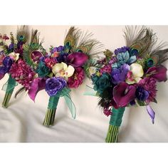 Teal Peacock Wedding Bouquet custom Pinks Raspberry colors via Polyvore