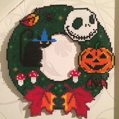 Autumn wreath hama perler beads by minimonstret