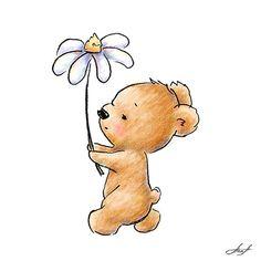 Valentine Card Drawing - Baby Bear With Flower by Anna Abramska Teddy Bear Drawing, Cute Bear Drawings, Animal Drawings, Baby Bear Tattoo, Teddy Bear Tattoos, Valentine Drawing, Teddy Bear Images, Bear Paintings, Bear Illustration