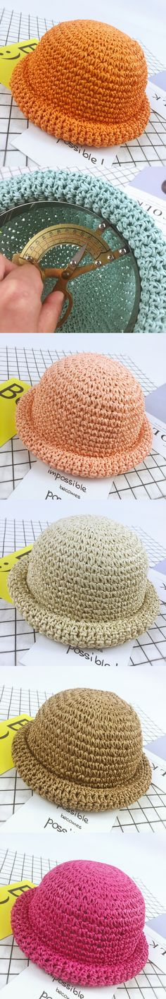 2017 Fashion Straw Hats Summer Solid Lovely Child Character Girls And Boys Sun Hat Solid Children Floppy Panama