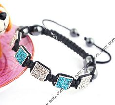 Blue Black Nylon Crystal Hematite Bracelets Jewelry Gift