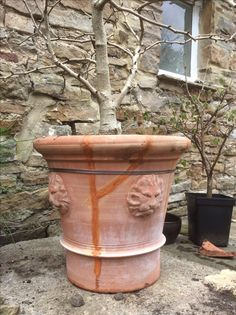 Hand thrown terracotta pot repaired with Araldite, Milliput and a Jubilee band and clip.