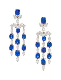 Oscar Heyman & Brothers, Sapphire and Diamond Earclipscontaining 16 cushion and oval mixed cut sapphires weighing carats total and 20 marquise cut, eight pear shape and four round brilliant cut. Gold Jewelry, Fine Jewelry, David Webb, Fine Art Auctions, Marquise Cut, Pear Shaped, Colored Diamonds, Diamond Cuts, Sapphire