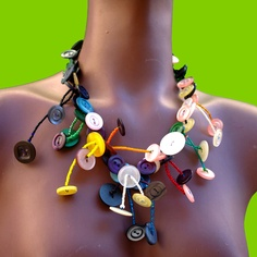 ButtonShop.ca - button necklace, handcrafted with colored, upcycled buttons and beads in free arrangement , SPRING BLOSSOM - €29,00 EUR