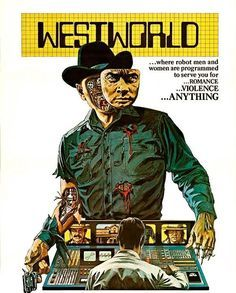 """You kids love that new """"Westworld"""" show, right? Come out on Friday to see the movie that inspired it and a lot of modern science fiction. It plays after the classic BLADE RUNNER. #urbandrivein #westworld"""