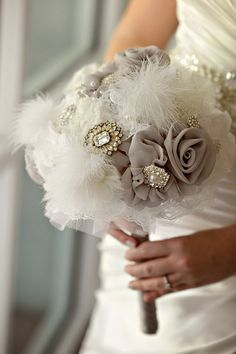 Silver and Blue Vintage Glam Wedding- love the added silver in the bouquet Bouquet Bride, Broach Bouquet, Wedding Brooch Bouquets, Diy Bouquet, Feather Bouquet, Hollywood Glamour Wedding, Glamorous Wedding, Wedding Vintage, Handmade Wedding
