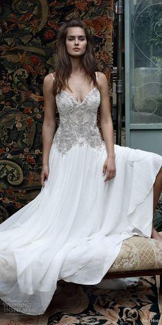 lihi hod bridal 2016 romantic tuscany wedding dress sleeveless embellished lace bodice spaghetti straps