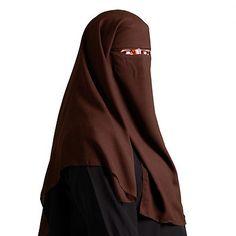 Saudi Niqab - Dreilagig - DUNKELBRAUN - Islamische Kleidung - 11-1003