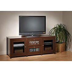 Prepac, Santino Espresso Flat Panel LCD / Plasma TV Console 2 Glass Drawers and Doors furniture outlet, mor, jeromes, furniture warehouse Lcd Tv Stand, Modern Tv Cabinet, Tv Stand With Storage, Plasma Tv, Healthy Living Quotes, Entertainment Center Decor, Tv Cabinets, Furniture Outlet, Adjustable Shelving