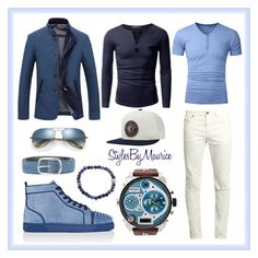 """""""Men's Casual Street Fashion"""" by mauricee-brewer on Polyvore featuring Christian Louboutin, Yves Saint Laurent, Doublju, Diesel, ETON, Orciani, Brixton, Ray-Ban, men's fashion and menswear"""
