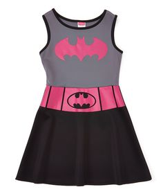 Look at this Pink & Black Batgirl A-Line Dress - Girls on #zulily today!