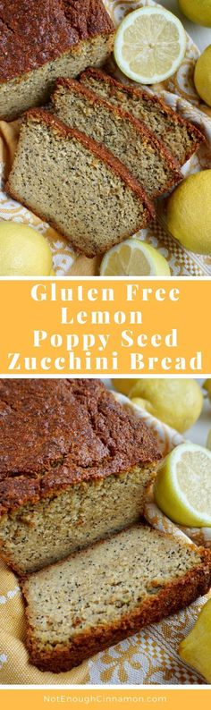 A GLUTEN FREE zucchini bread but not any kind of zucchini. A GLUTEN FREE zucchini bread but not any kind of zucchini bread! A lemon poppyseed one! Get this healthy recipe on NotEnoughCinnamon Gluten Free Zucchini Bread, Gluten Free Baking, Gluten Free Desserts, Gluten Free Recipes, Snack Recipes, Dessert Recipes, Bread Recipes, Breakfast Recipes, Lemon Recipes