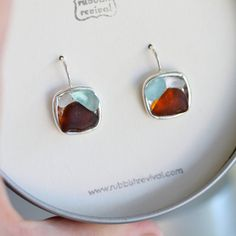 Somebody, I have a birthday coming up :))  Sea Glass Mosaic Earrings  Amber Aquamarine by TheRubbishRevival, $41.00