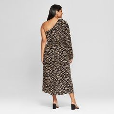 926665da55 Women s Plus Size Leopard Print Long Sleeve One Shoulder Midi Dress - Who  What Wear Black