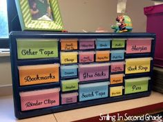 Organizing your teacher desk area. I need this bin thing in my life!!!