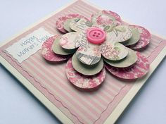 Mothers Day Card  3D Flower  Pretty Flower by HandmadePeaCards