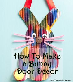 This adorable Easter #BunnyDoorDecor to make with the kids adds a touch of cuteness to your house. This Easter bunny door hanger is an easy Easter craft to make yet inexpensive.