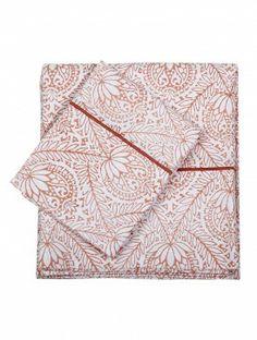 Set of Coral Cotton Marrakech Flat Sheet and 2 Pillow Case