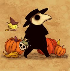 The Plague Doctor won't give candies but the Black Death. (I hope you are gonna have a better Halloween than me because I will spend the night working ) This drawing i. Plauge Doctor, Doctor Drawing, Estilo Tim Burton, Doctor Tattoo, Spooky Tattoos, Black Death, Goth Art, Creepy Art, Fanart