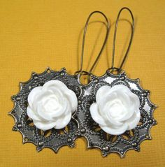 WHITE ROSE earrings on French wires. $8.00.  http://www.etsy.com/listing/123104918/white-rose?#