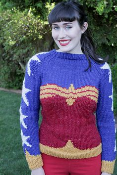 Wonder Woman is entirely charted because of the color work, this makes it easier to lengthen/shorten and adjust sizes for a perfect fit. It was designed specifically around Cascade's Hollywood yarn, since the glitzy shimmer is simply perfect for a superhero sweater.