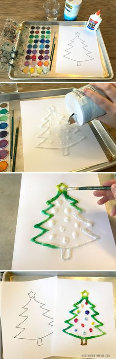 This Christmas Tree Salt Painting art project is perfect for kids (or anyone really). The final product looks so pretty! What a great DIY holiday project! Christmas Art Projects, Christmas Trees For Kids, Christmas Tree Painting, Toddler Christmas, Christmas Crafts, Xmas, Preschool Christmas, Christmas Stuff, Christmas Ideas