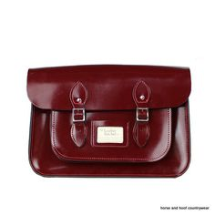 Traditional Hand Crafted British Vintage Leather Satchel - Patent Oxblood Our 14-inch satchel perfectly fits all styles of 13-inch MacBook Standard