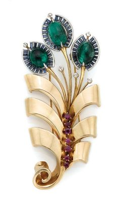 Gold, Platinum,Cabochon Emerald, Sapphire, Ruby and Diamond Clip-Brooch  C. 1940, ap. 22.6 dwt.