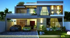 mediterranean homes architecture Modern Bungalow House Design, Modern Exterior House Designs, Bungalow Interiors, Duplex House Design, House Front Design, Dream House Exterior, 3d House Plans, Duplex House Plans, Contemporary House Plans