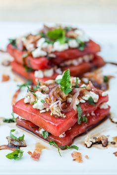 Savoury Watermelon Salad | bsinthekitchen.com #salad #fruit #bsinthekitchen