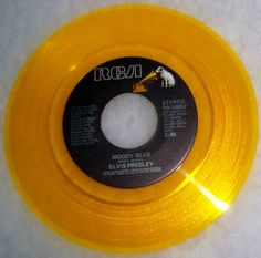 "Ultra RARE Elvis Presley ""Moody Blue"" 45 RPM Colored Vinyl Gold   eBay"