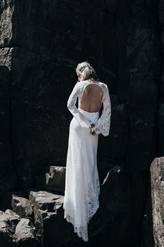 """Fade Into You"" Debut Bridal Collection by Prea James, backless bell sleeve lace wedding dress"