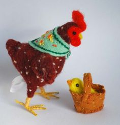 Original and one of a kind needle felted Speckled Spring Chicken with Chick in a Basket Designed and Made by Miss Bumbles.     Ah it may be ten feet