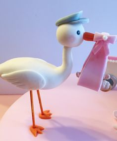 Fondant Stork with baby cake topper