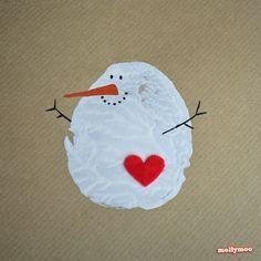 Schneemann-Weihnachtskarte mit Herzerl